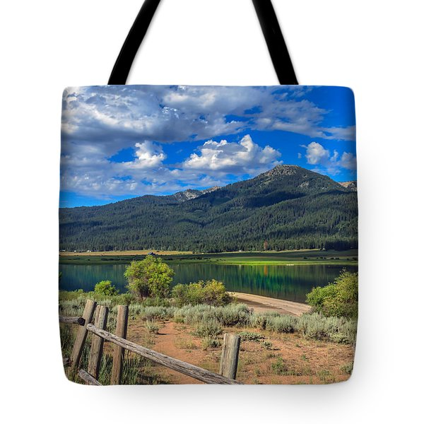 Campground View Of Lake Cascade Tote Bag by Robert Bales
