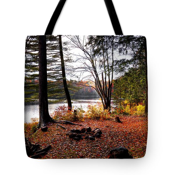 Campsite On Cary Lake Tote Bag by David Patterson