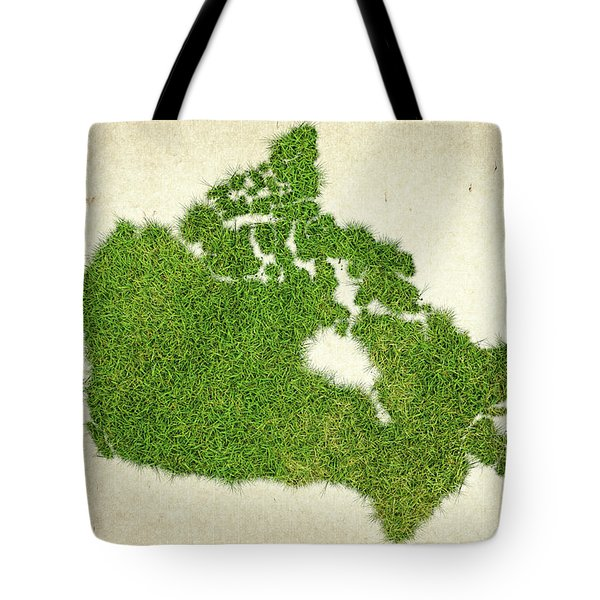Canada Grass Map Tote Bag by Aged Pixel