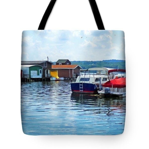 Canandaigua Fishing Shacks Tote Bag by Susan Savad