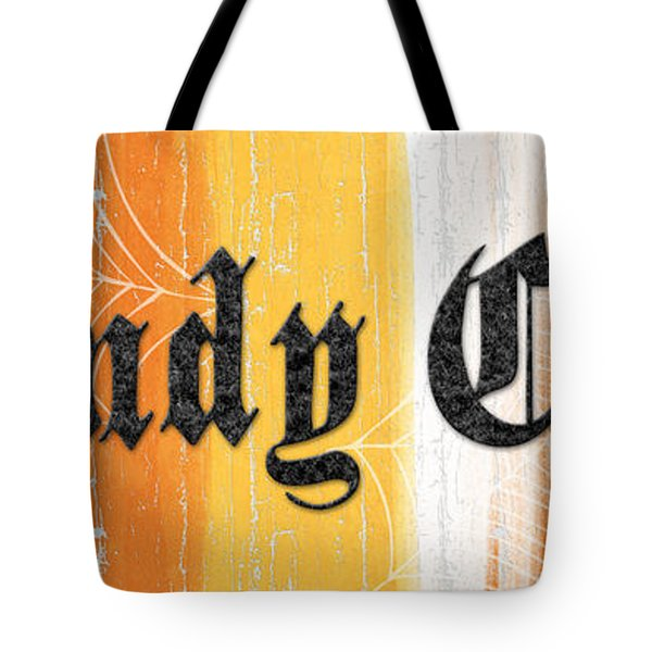 Candy Corn Sign Tote Bag by Linda Woods