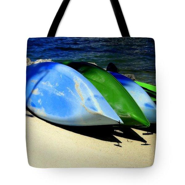 Canoe Shadows Tote Bag by Karen Wiles
