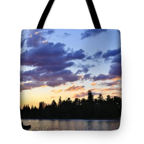 Canoeing At Sunset Tote Bag by Elena Elisseeva