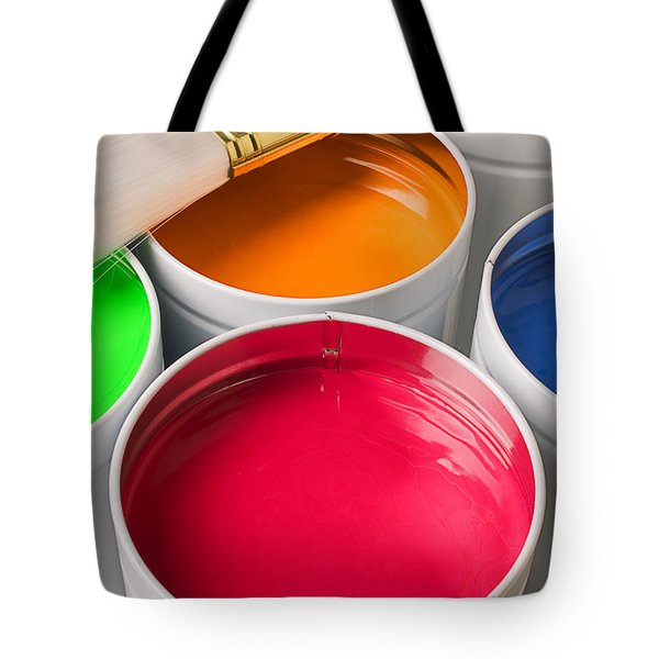 Cans Of Colored Paint Tote Bag by Garry Gay