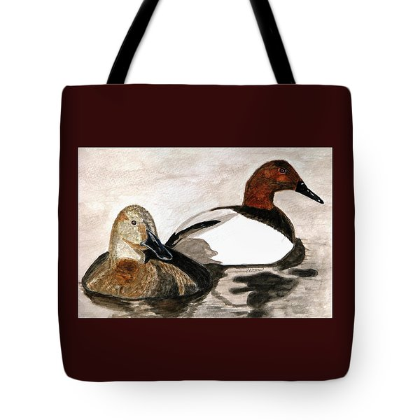 Canvasback Couple Tote Bag by Angela Davies