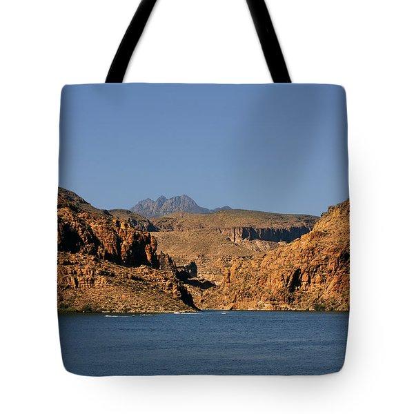 Canyon Lake Of Arizona - Land Big Fish Tote Bag by Christine Till