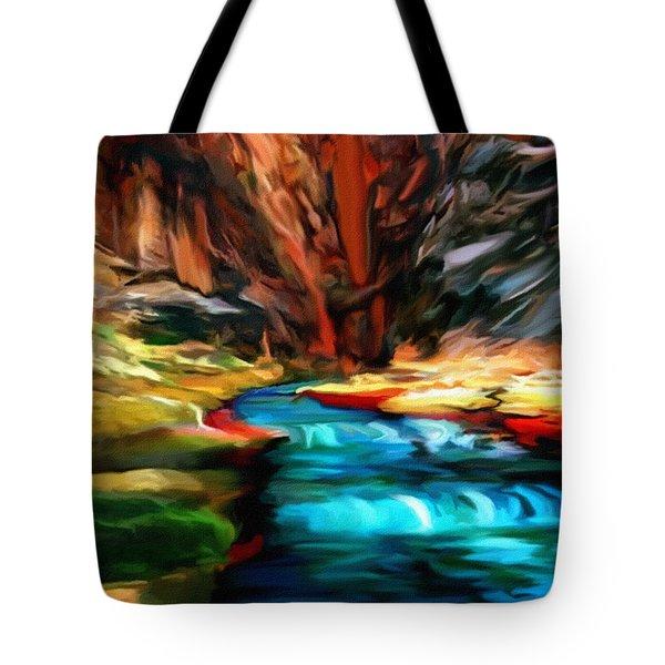 Canyon Waterfall Impressions Tote Bag by  Bob and Nadine Johnston