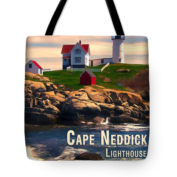Cape Neddick Lighthouse  At Sunset  Tote Bag by Elaine Plesser