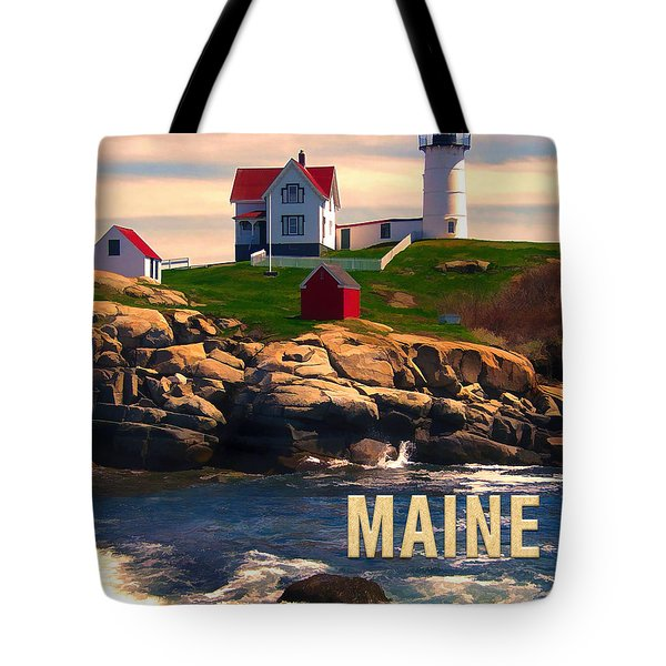 Cape Neddick Lighthouse Maine  At Sunset  Tote Bag by Elaine Plesser