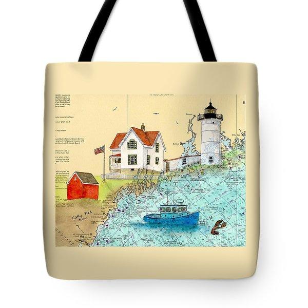 Cape Neddick Lighthouse Me Nautical Chart Map Art Cathy Peek Tote Bag by Cathy Peek