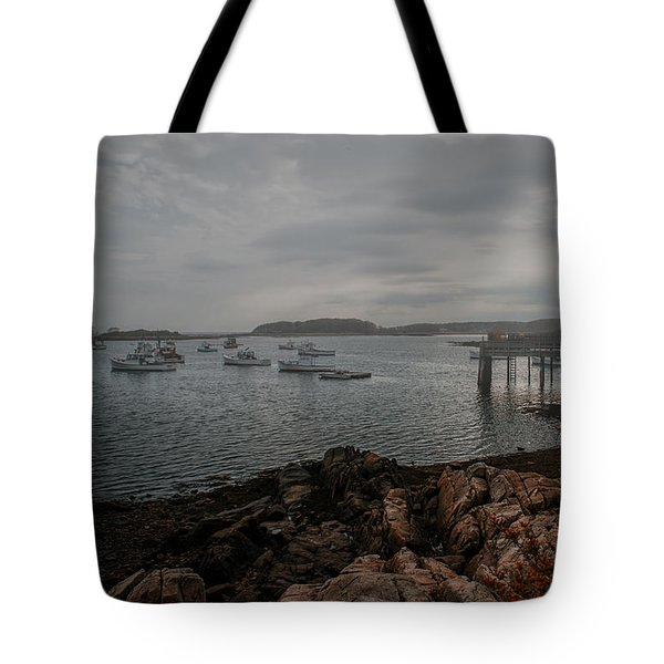 Cape Porpoise Fog Rolls In Tote Bag by Bob Orsillo