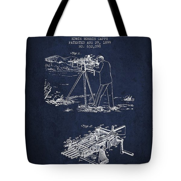 Capps Machine Gun Patent Drawing From 1899 - Navy Blue Tote Bag by Aged Pixel