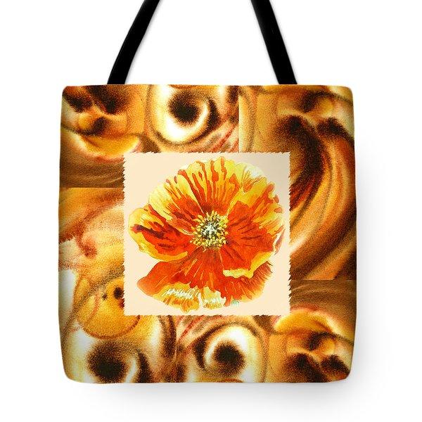 Cappuccino Abstract Collage Poppy Tote Bag by Irina Sztukowski