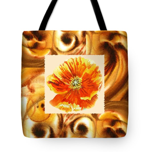 Cappuccino Abstract Collage Poppy Tote Bag by Irina Sztukowski