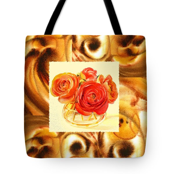 Cappuccino Abstract Collage Ranunculus   Tote Bag by Irina Sztukowski