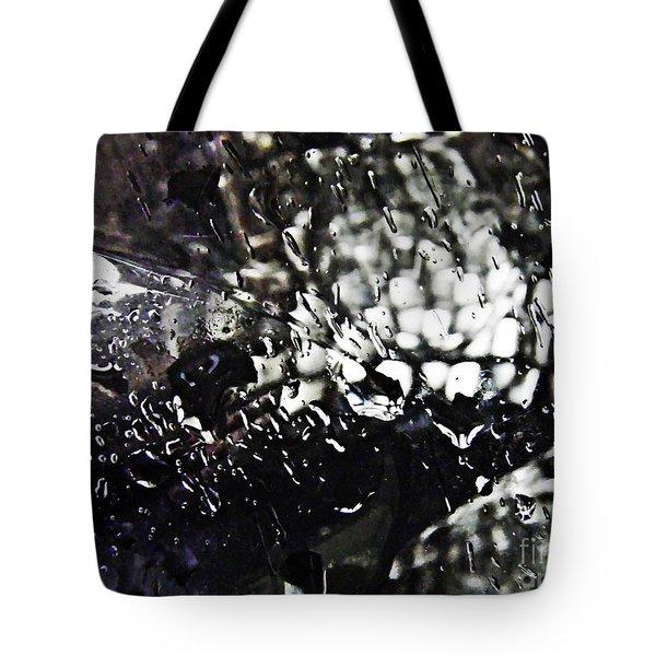 Car Light In The Rain Tote Bag by Sarah Loft