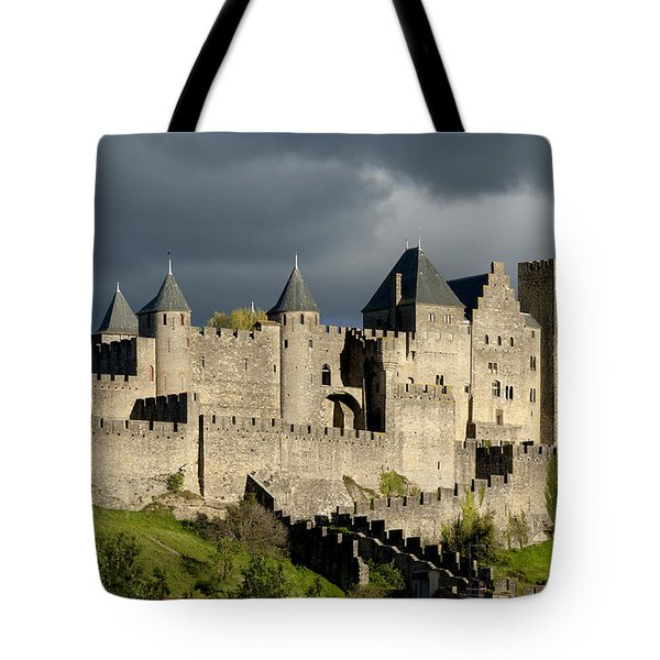 Carcassonne Stormy Skies Tote Bag by Robert Lacy