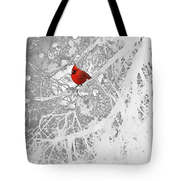 Cardinal In Winter Tote Bag by Ellen Henneke