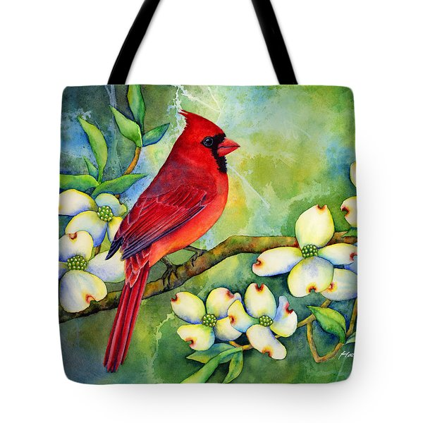 Cardinal On Dogwood Tote Bag by Hailey E Herrera