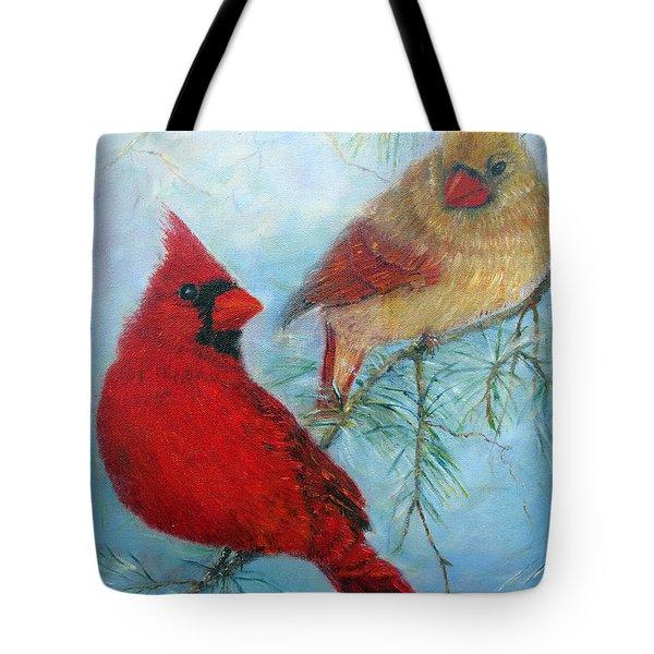 Cardinal Pair Tote Bag by Loretta Luglio