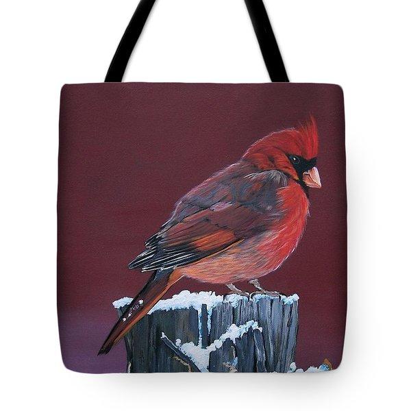 Cardinal Winter Songbird Tote Bag by Sharon Duguay
