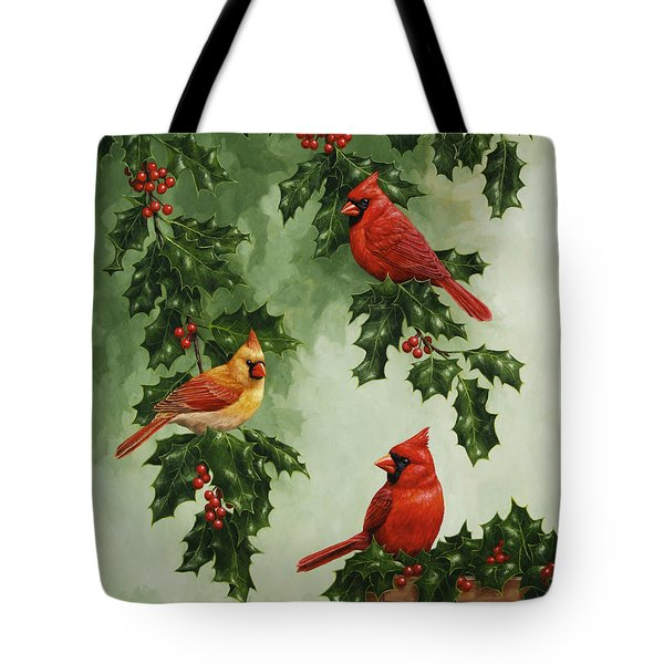 Cardinals And Holly - Version Without Snow Tote Bag by Crista Forest