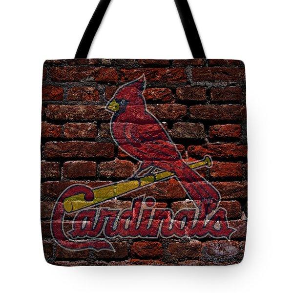 Cardinals Baseball Graffiti on Brick  Tote Bag by Movie Poster Prints
