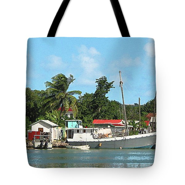 Caribbean - Docked Boats At Antigua Tote Bag by Susan Savad