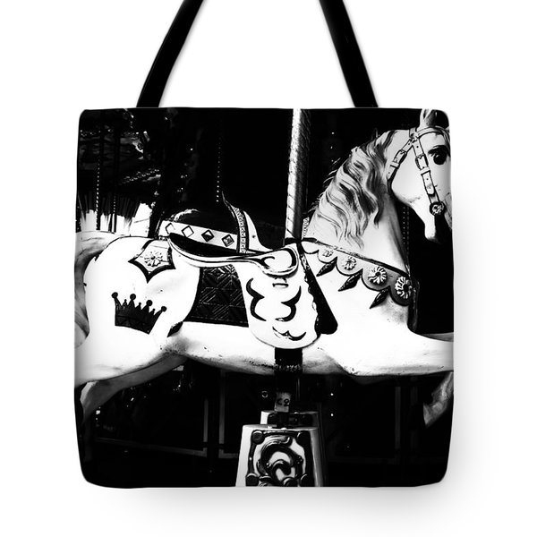 Carnival Carousel in Mono Tote Bag by Nomad Art And  Design