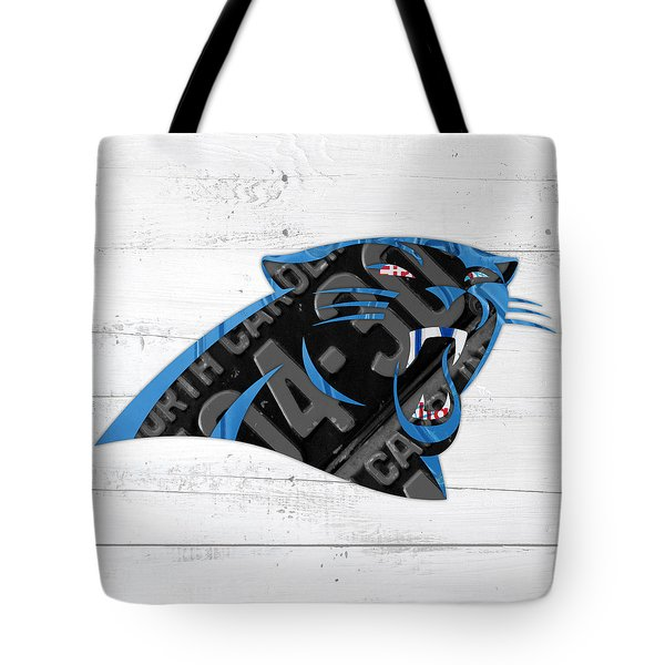 Carolina Panthers Football Team Retro Logo Recycled North Carolina License Plate Art Tote Bag by Design Turnpike