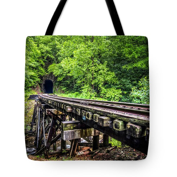 Carolina Railroad Trestle Tote Bag by Debra and Dave Vanderlaan