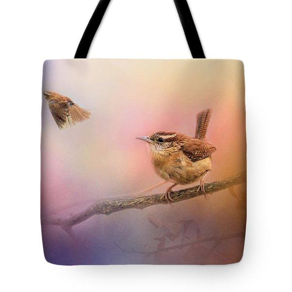 Carolina Wrens Tote Bag by Jai Johnson