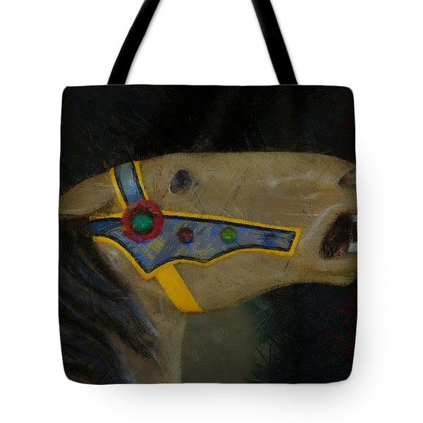 Carousel Horse Painterly 2 Tote Bag by Ernie Echols