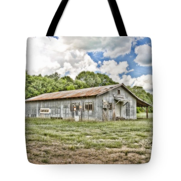 Carpenter Building Tote Bag by Scott Pellegrin