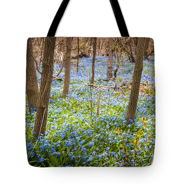 Carpet of blue flowers in spring forest Tote Bag by Elena Elisseeva
