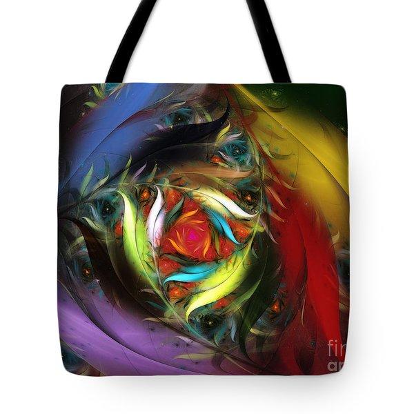 Carribean Nights-Abstract Fractal Art Tote Bag by Karin Kuhlmann