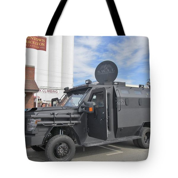 CARROLLTON TEXAS POLICE VEHICLE Tote Bag by Donna Wilson