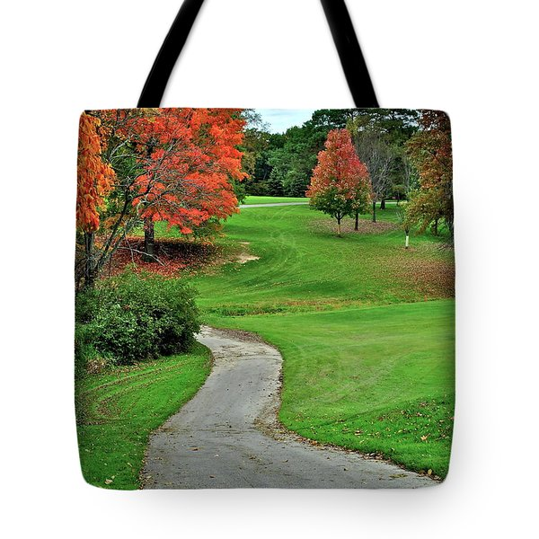 Cart Path Tote Bag by Frozen in Time Fine Art Photography