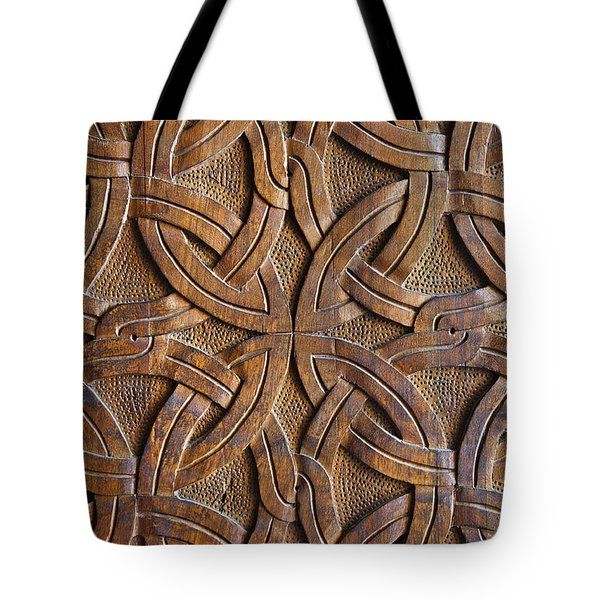 Carved Wooden Door In The Tsminda Sameba Cathedral Tbilisi Tote Bag by Robert Preston