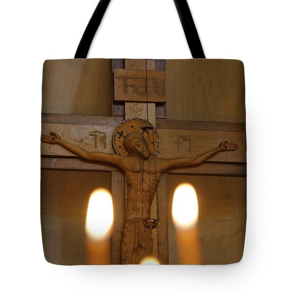 Carving Of Jesus Christ On The Cross Inside Tsminda Sameba Cathedral Tbilisi Tote Bag by Robert Preston