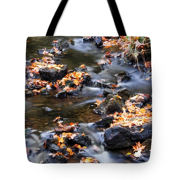 Cascading Autumn Leaves On The Miners River Tote Bag by Optical Playground By MP Ray