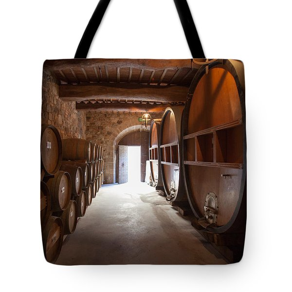 Castelle Di Amorosa Barrel Room Tote Bag by Scott Campbell