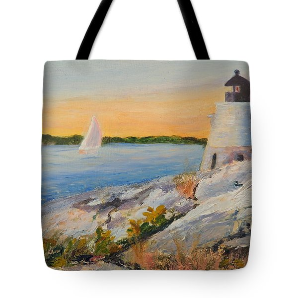 Castle Hill Light House Newport Ri Tote Bag by Patty Kay Hall