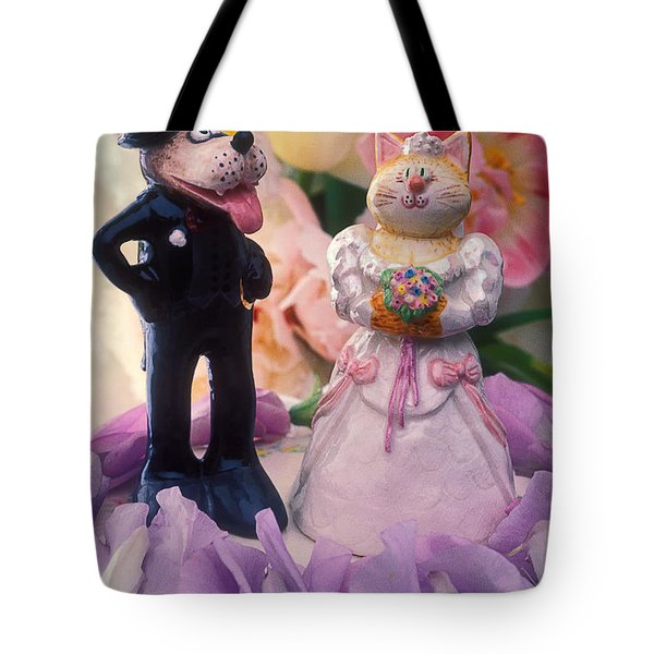 Cat And Dog Bride And Groom Tote Bag by Garry Gay