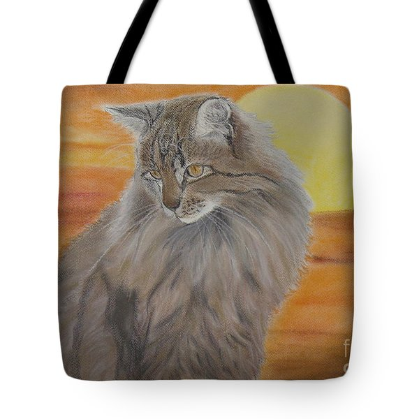 Cat and Sunset  Tote Bag by Cybele Chaves