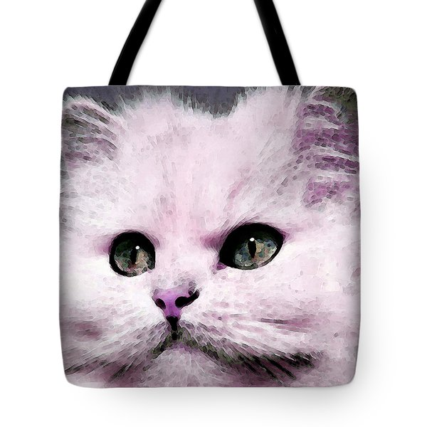 Cat Art - My Eyes Adore You Tote Bag by Sharon Cummings