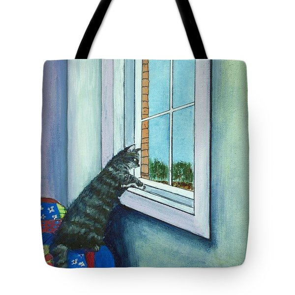 Cat By The Window Tote Bag by Anastasiya Malakhova
