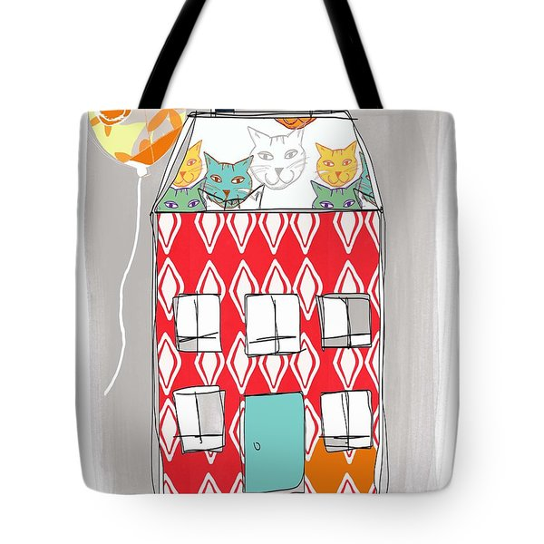 Cat House Tote Bag by Linda Woods
