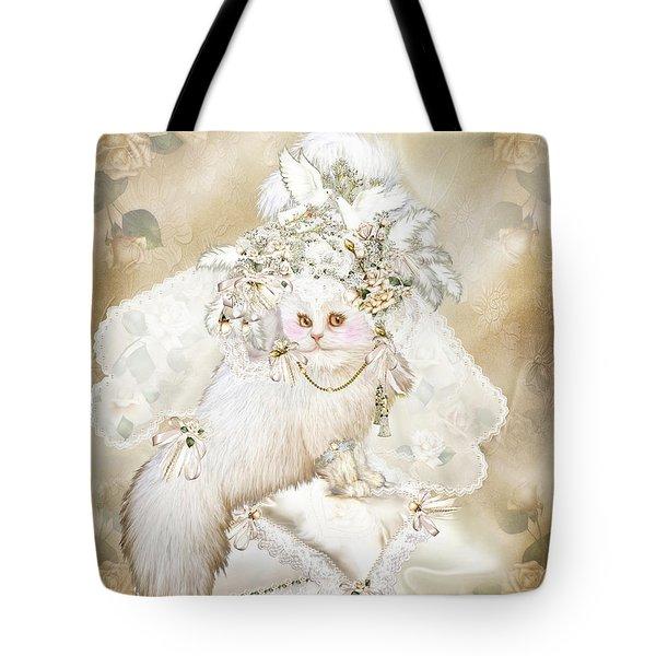 Cat In Fancy Bridal Hat Tote Bag by Carol Cavalaris