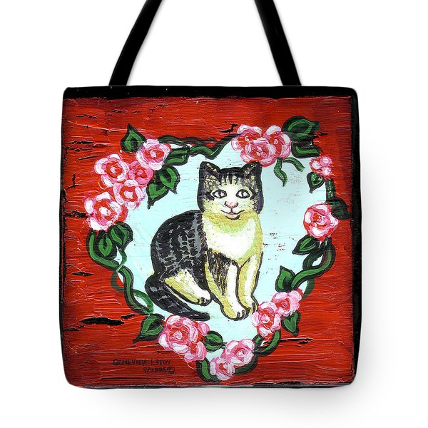 Cat In Heart Wreath 1 Tote Bag by Genevieve Esson